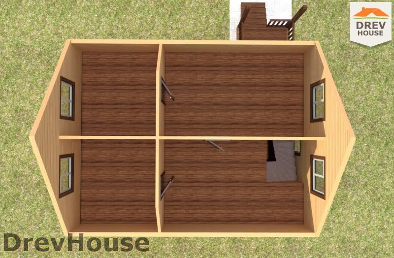 Вид изнутри 2 этажа проекта полутораэтажного дома из бруса ДБ-78