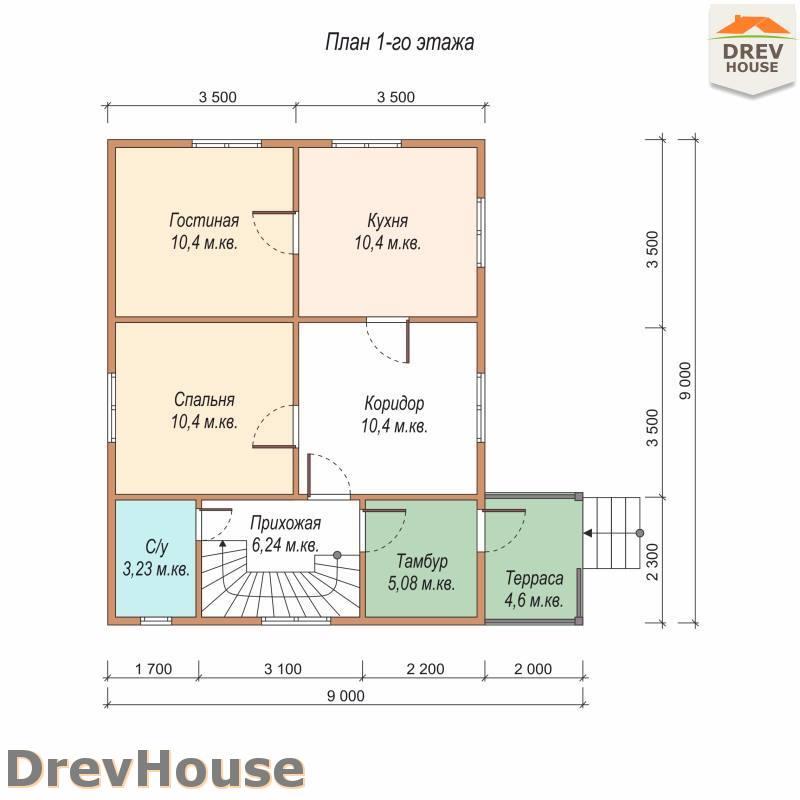 План 1 этажа полутораэтажного дома из бруса ДБ-78