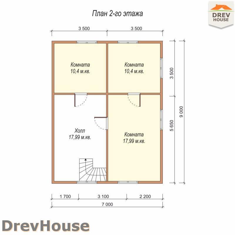 План 2 этажа полутораэтажного дома из бруса ДБ-78