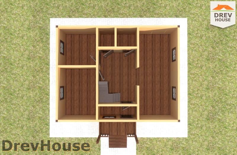 Вид изнутри 1 этажа проекта дома из бруса с мансардой ДБ-80