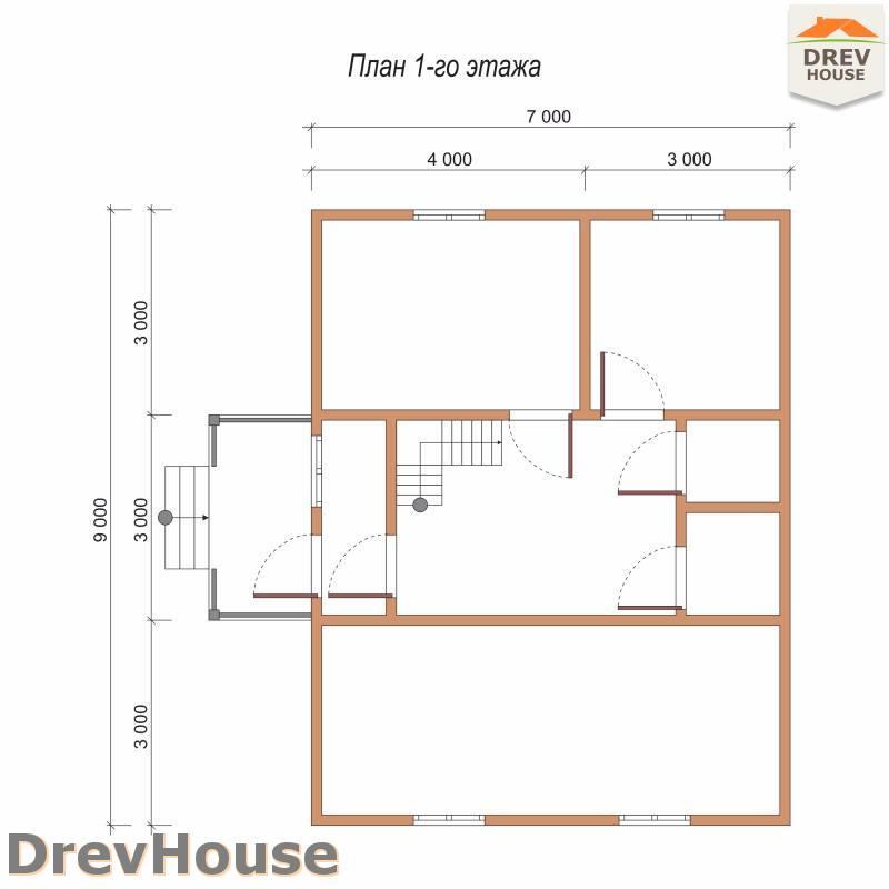 План 1 этажа дома из бруса с мансардой ДБ-80