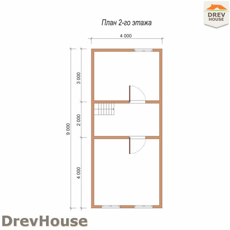План 2 этажа дома из бруса с мансардой ДБ-80