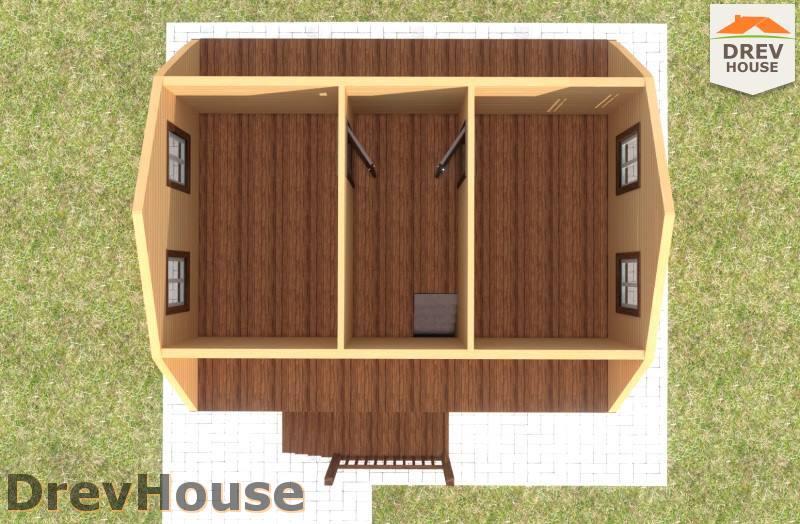 Вид изнутри 2 этажа проекта дома из бруса с мансардой ДБ-81