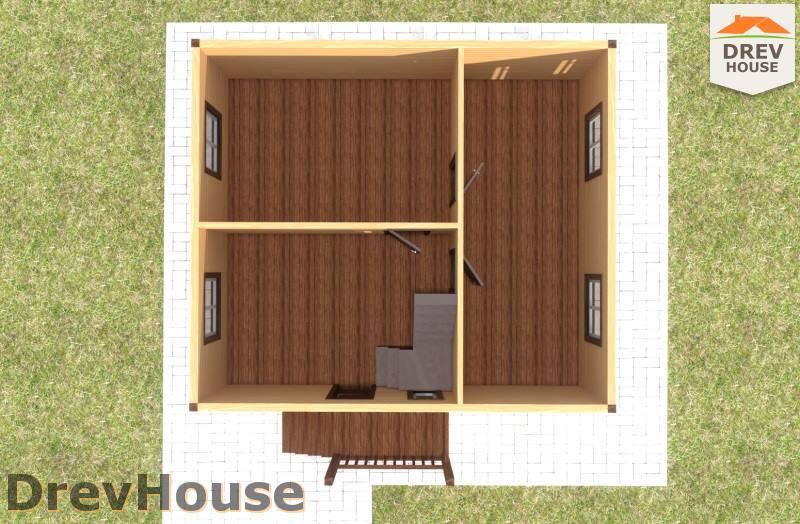 Вид изнутри 1 этажа проекта дома из бруса с мансардой ДБ-81