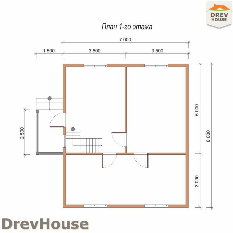 План 1 этажа дома из бруса с мансардой ДБ-81