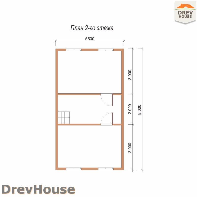 План 2 этажа дома из бруса с мансардой ДБ-81