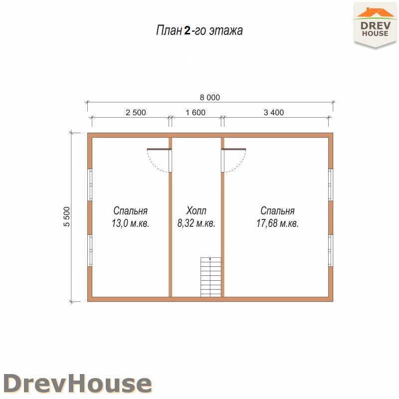 План 2 этажа дома из бруса с мансардой ДБ-82