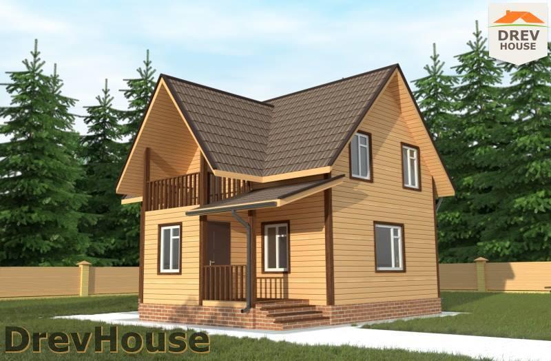 Главное фото проекта полутораэтажного дома из бруса ДБ-83