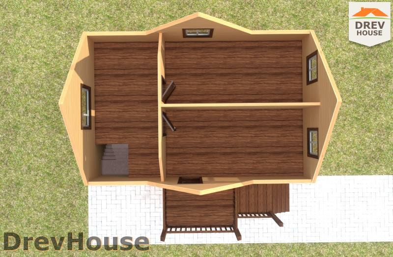 Вид изнутри 2 этажа проекта полутораэтажного дома из бруса ДБ-83