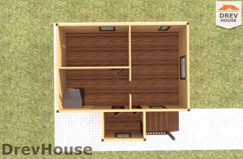 Вид изнутри 1 этажа проекта полутораэтажного дома из бруса ДБ-83