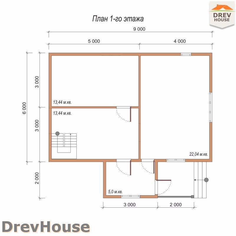 План 1 этажа полутораэтажного дома из бруса ДБ-83