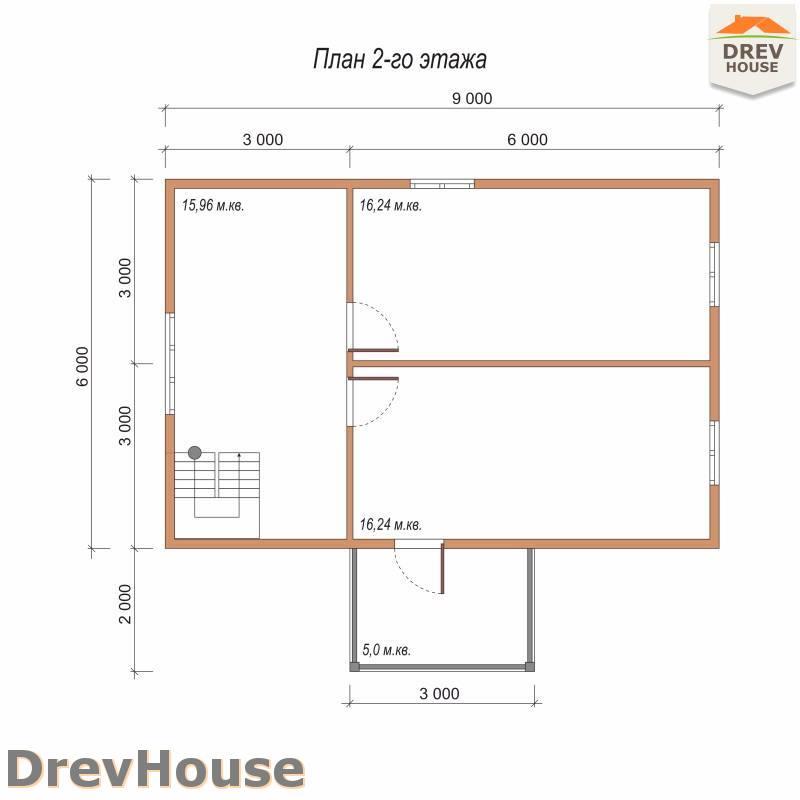 План 2 этажа полутораэтажного дома из бруса ДБ-83