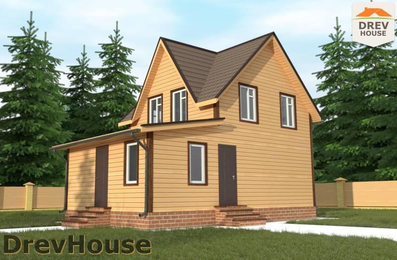 Главное фото проекта полутораэтажного дома из бруса ДБ-85