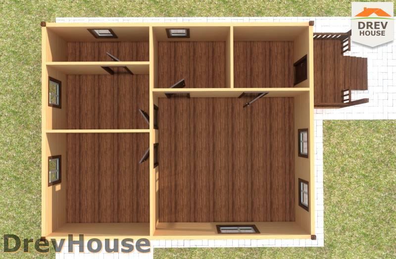 Вид изнутри 1 этажа проекта одноэтажного дома из бруса ДБ-84