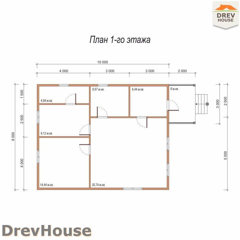 План 1 этажа одноэтажного дома из бруса ДБ-84