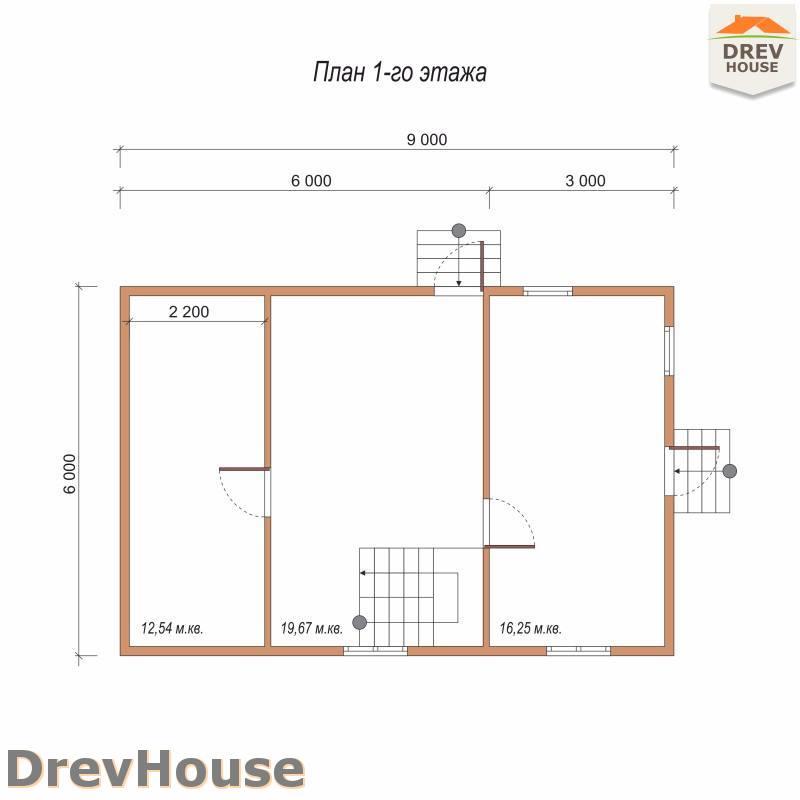 План 1 этажа полутораэтажного дома из бруса ДБ-85