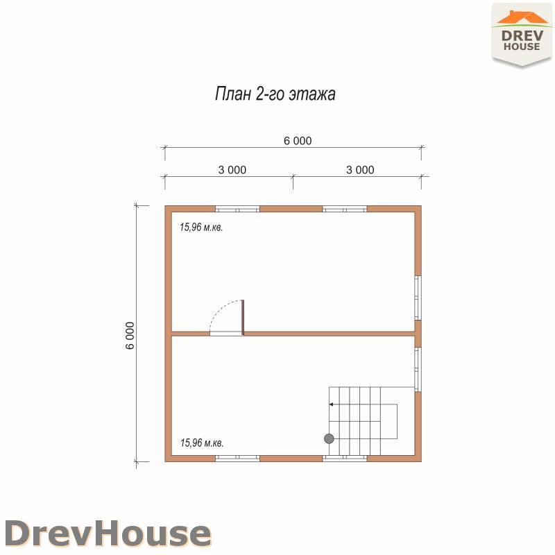 План 2 этажа полутораэтажного дома из бруса ДБ-85