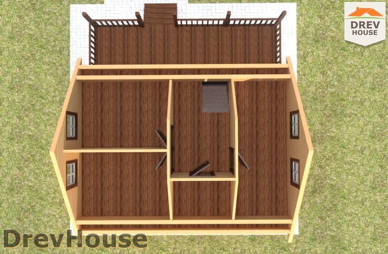 Вид изнутри 2 этажа проекта дома из бруса с мансардой ДБ-86