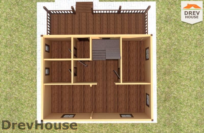 Вид изнутри 1 этажа проекта дома из бруса с мансардой ДБ-86