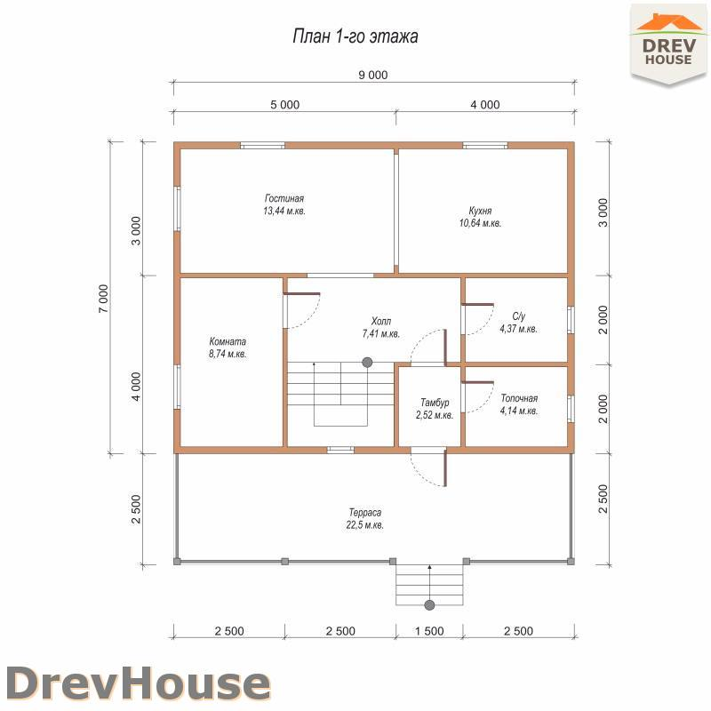 План 1 этажа дома из бруса с мансардой ДБ-86