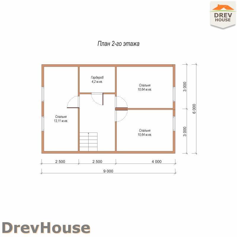 План 2 этажа дома из бруса с мансардой ДБ-86