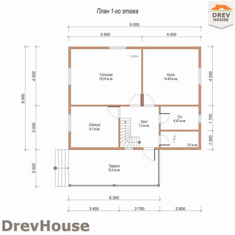 План 1 этажа полутораэтажного дома из бруса ДБ-88