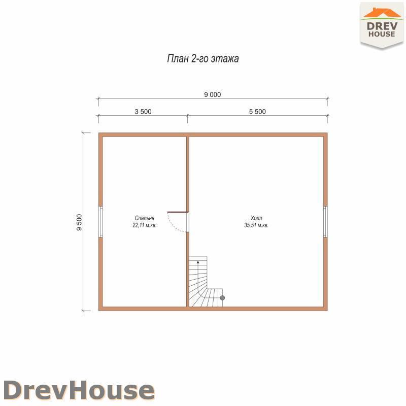 План 2 этажа полутораэтажного дома из бруса ДБ-88