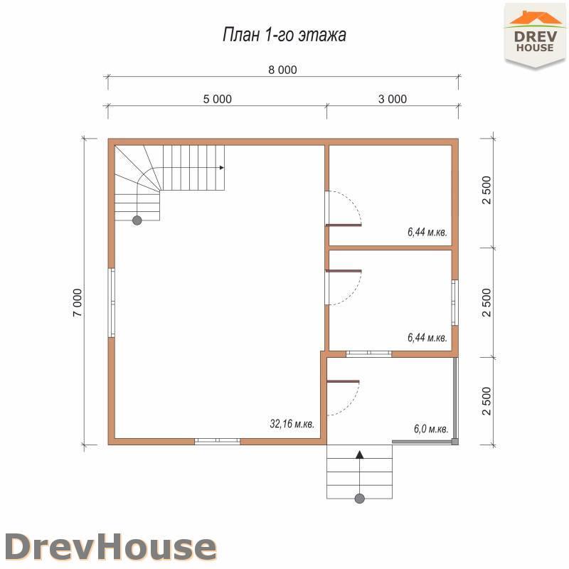 План 1 этажа дома из бруса с мансардой ДБ-89