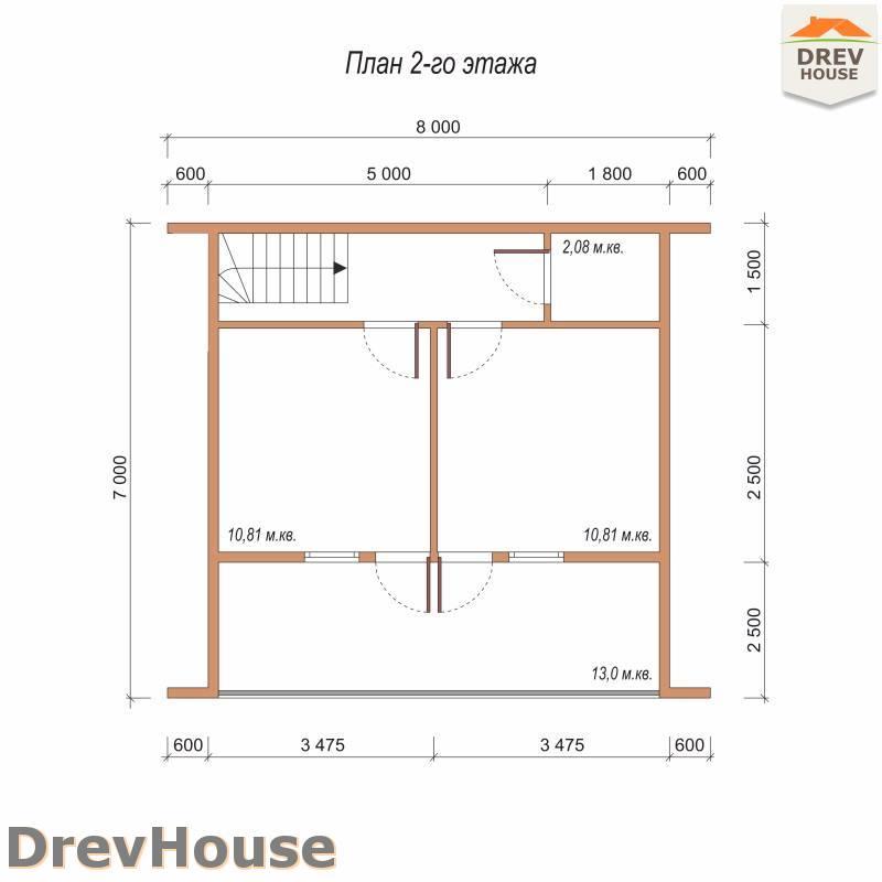 План 2 этажа дома из бруса с мансардой ДБ-89