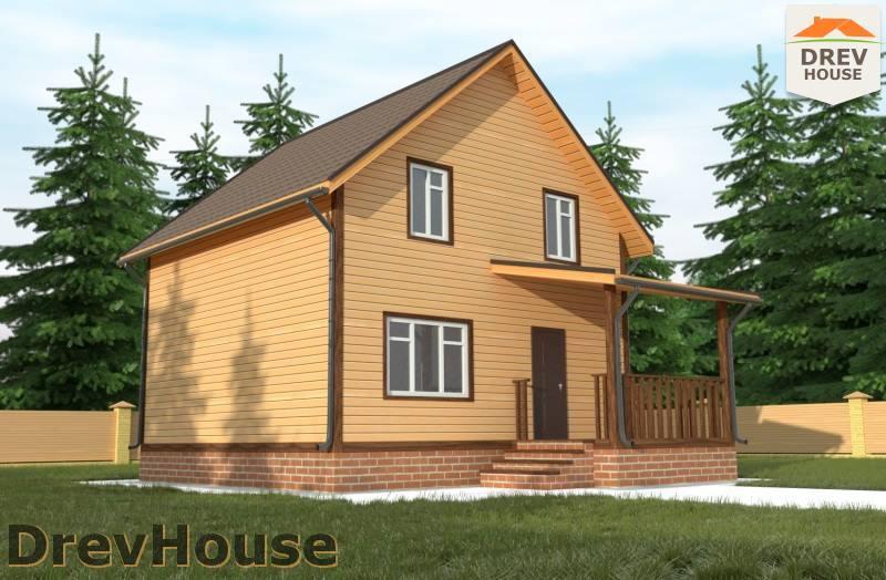 Главное фото проекта полутораэтажного дома из бруса ДБ-90