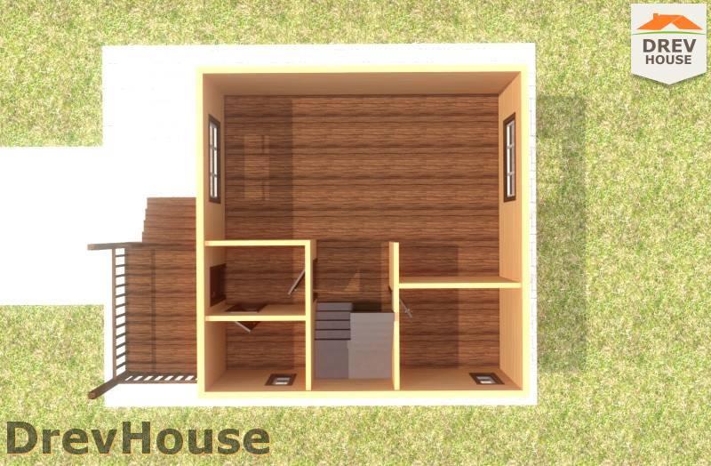 Вид изнутри 1 этажа проекта полутораэтажного дома из бруса ДБ-90