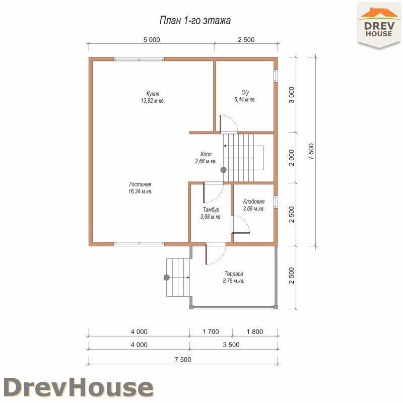 План 1 этажа полутораэтажного дома из бруса ДБ-90