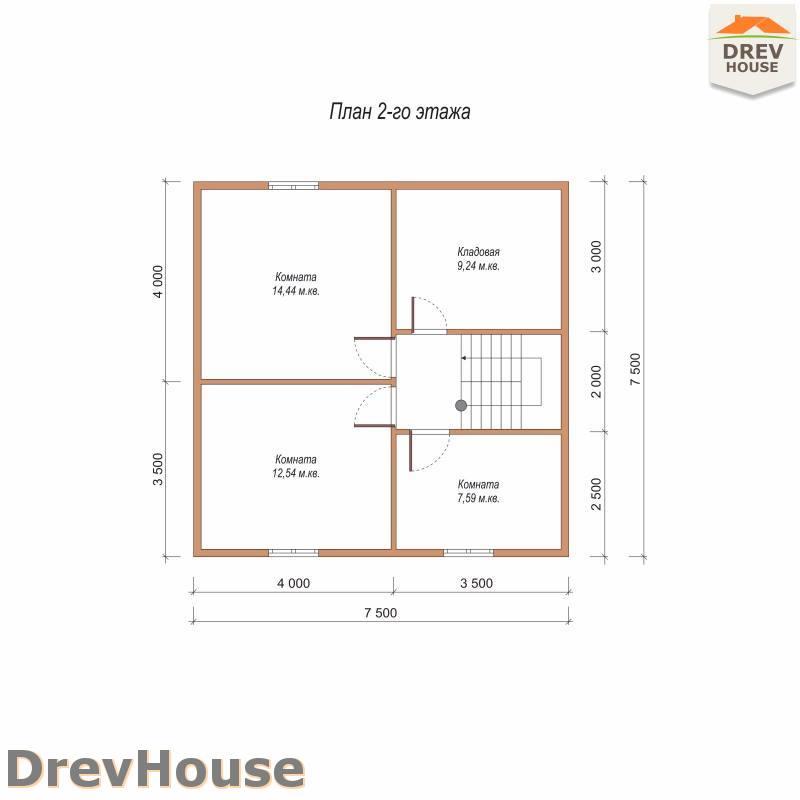 План 2 этажа полутораэтажного дома из бруса ДБ-90