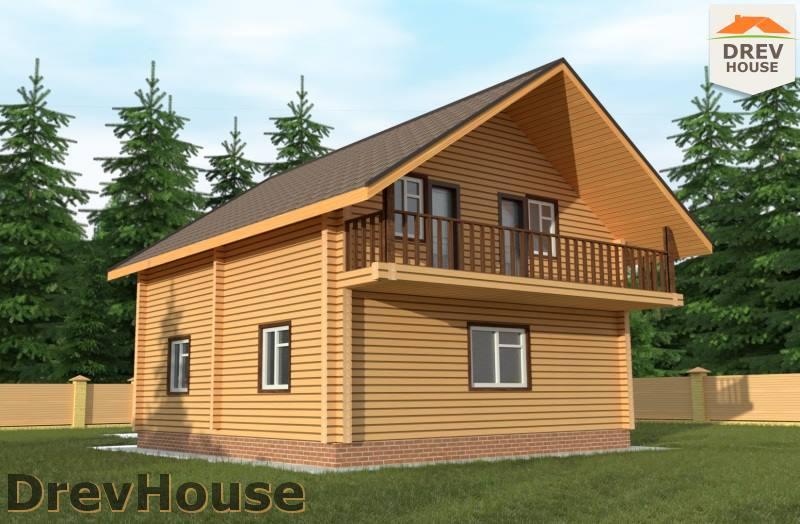 Главное фото проекта полутораэтажного дома из бруса ДБ-91