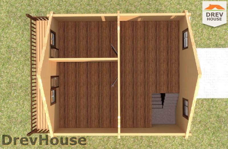 Вид изнутри 2 этажа проекта полутораэтажного дома из бруса ДБ-91