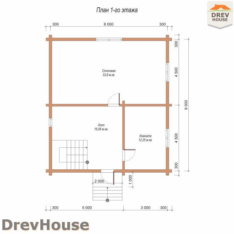План 1 этажа полутораэтажного дома из бруса ДБ-91