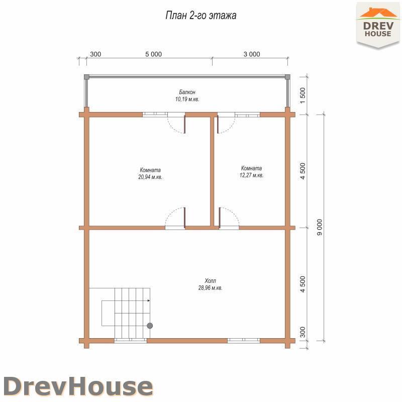 План 2 этажа полутораэтажного дома из бруса ДБ-91