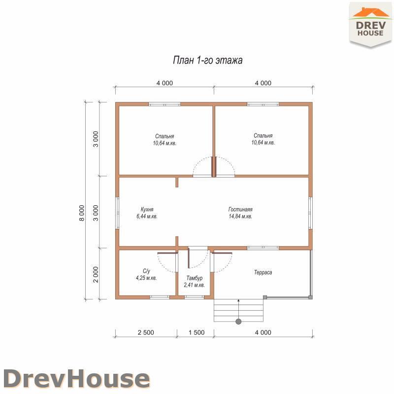 План 1 этажа одноэтажного дома из бруса ДБ-92