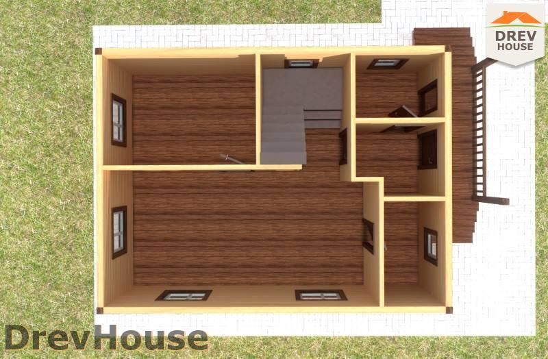 Вид изнутри 1 этажа проекта дома из бруса с мансардой ДБ-73
