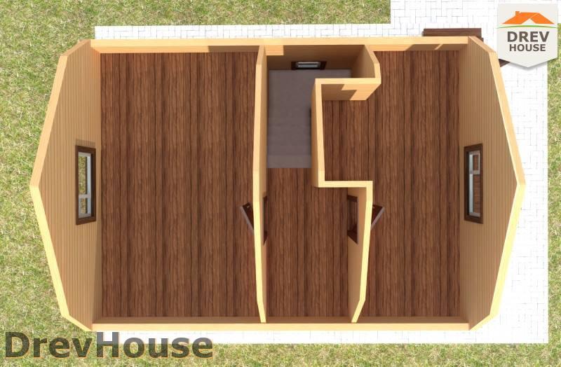 Вид изнутри 2 этажа проекта дома из бруса с мансардой ДБ-73