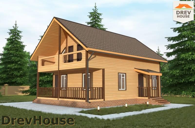 Главное фото проекта полутораэтажного дома из бруса ДБ-97