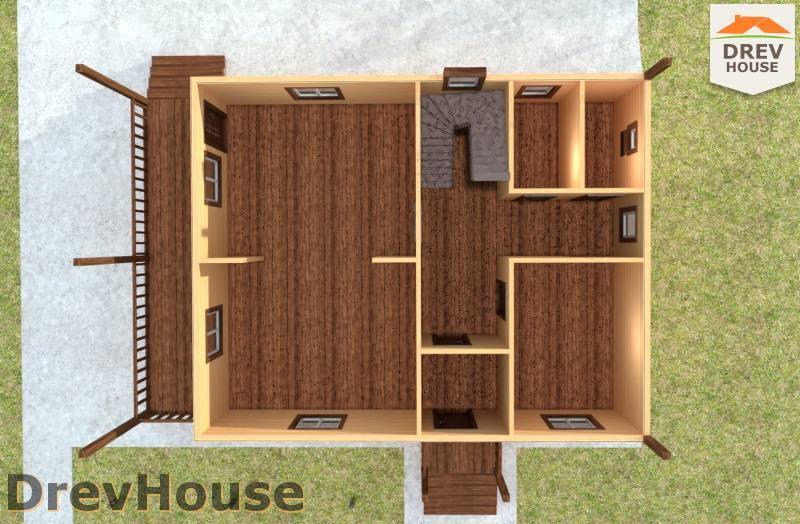 Вид изнутри 1 этажа проекта полутораэтажного дома из бруса ДБ-97