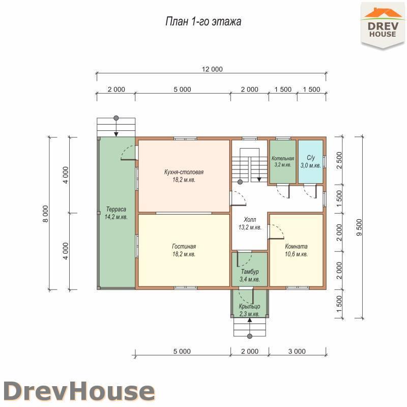 План 1 этажа полутораэтажного дома из бруса ДБ-97