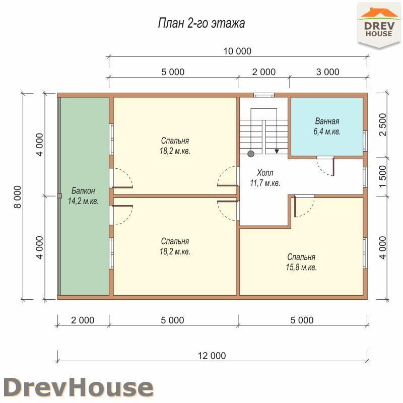 План 2 этажа полутораэтажного дома из бруса ДБ-97