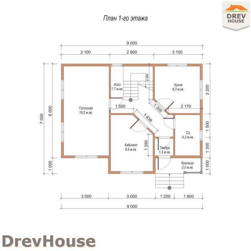 План 1 этажа дома из бруса с мансардой ДБ-106