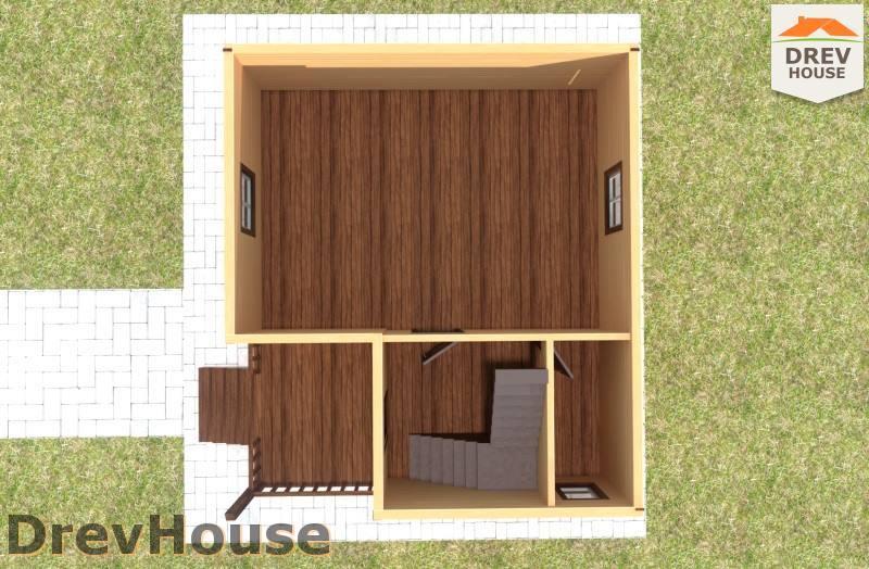Вид изнутри 1 этажа проекта дома из бруса с мансардой ДБ-96