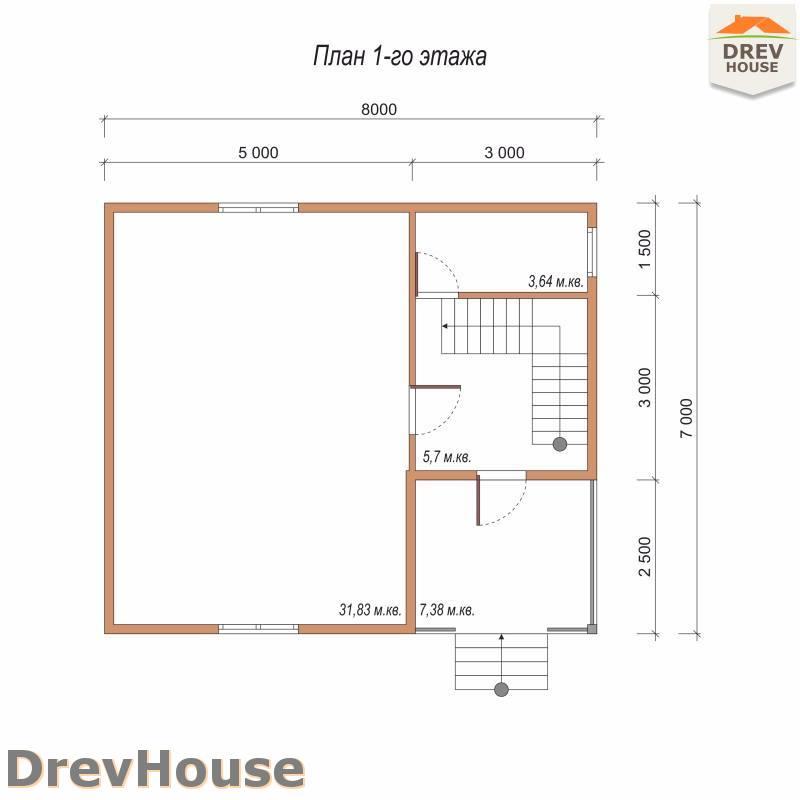 План 1 этажа дома из бруса с мансардой ДБ-96