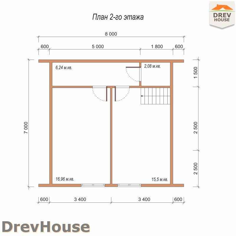 План 2 этажа дома из бруса с мансардой ДБ-96