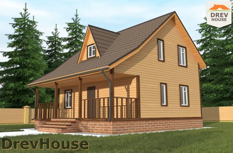 Главное фото проекта полутораэтажного дома из бруса ДБ-100