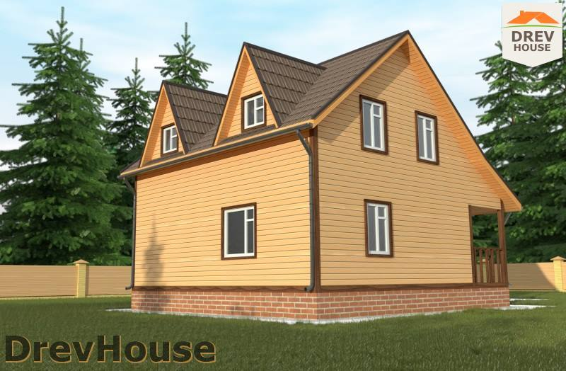 Вид сбоку проекта полутораэтажного дома из бруса ДБ-100